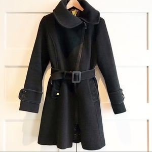 Soia & Kyo wool asymmetrical zipper belted coat